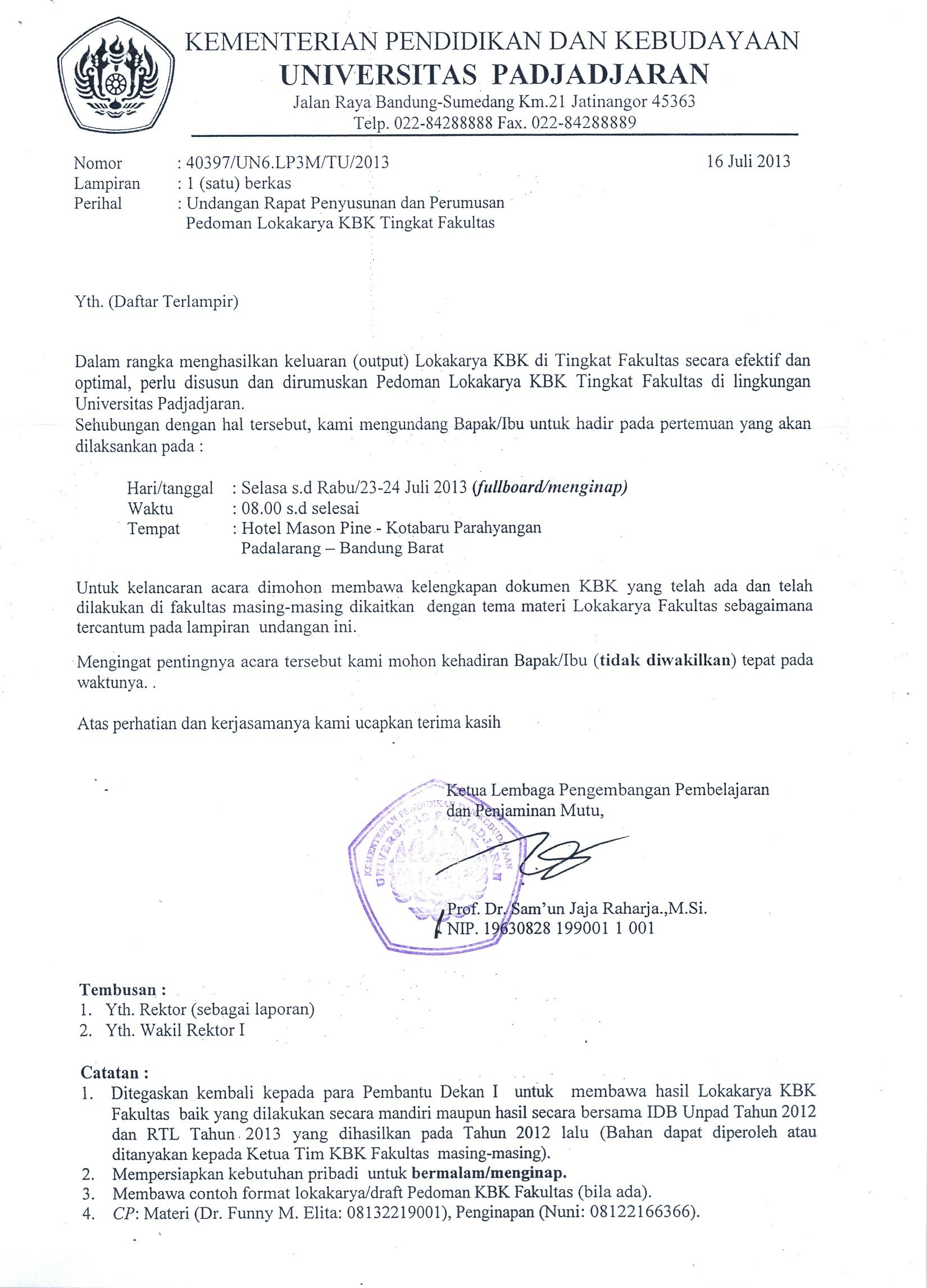 Undangan Rapat Penyusunan dan Perumusan Pedoman Lokakarya ...