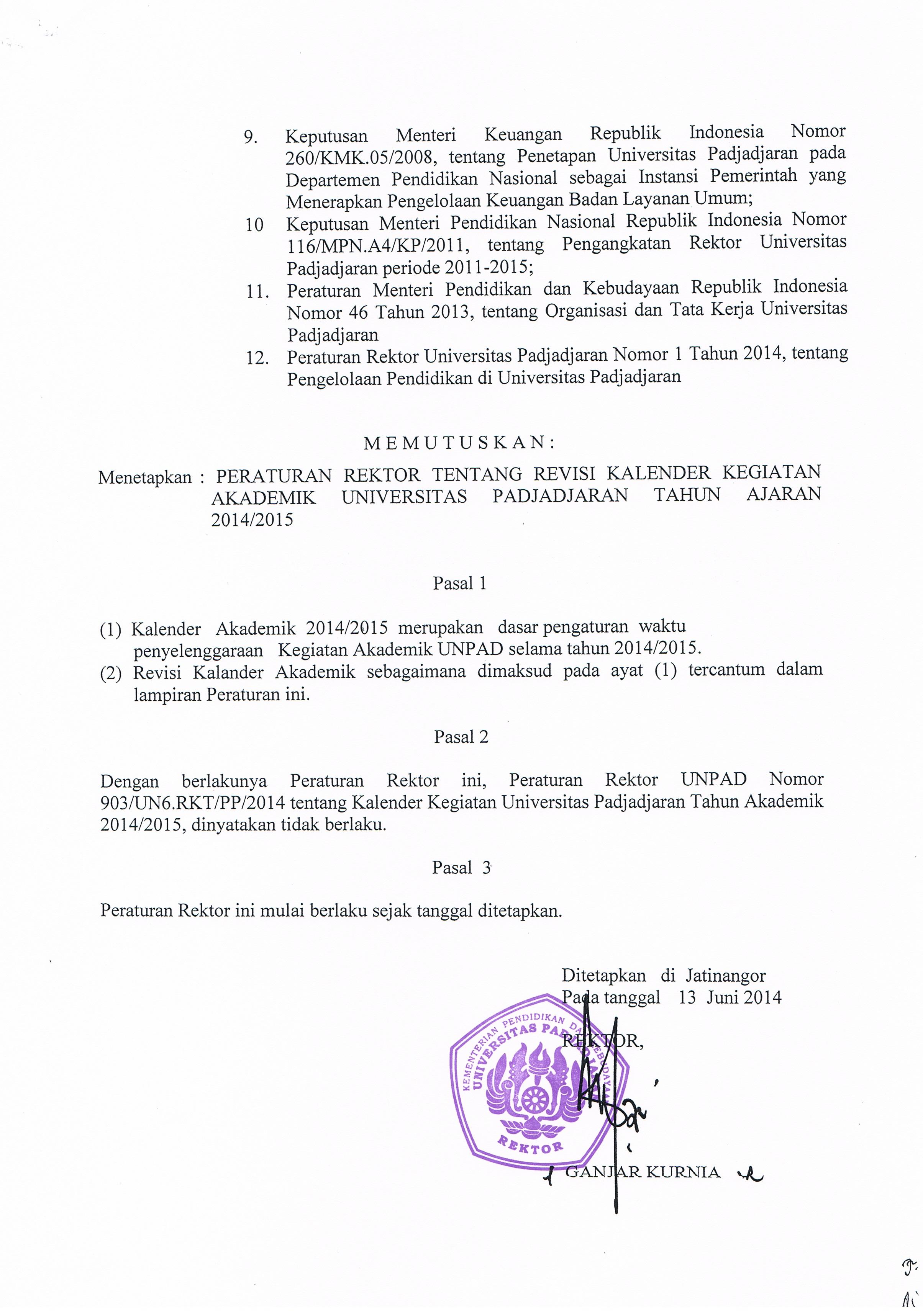 Kalender Kegiatan Akademik Universitas Padjadjaran Tahun Ajaran 2014
