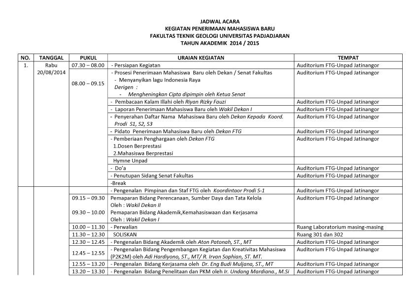 JADWAL PMB  FTG 2014-1