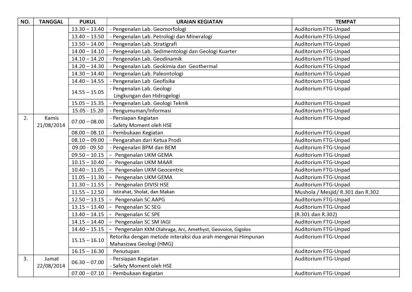 JADWAL PMB  FTG 2014-2