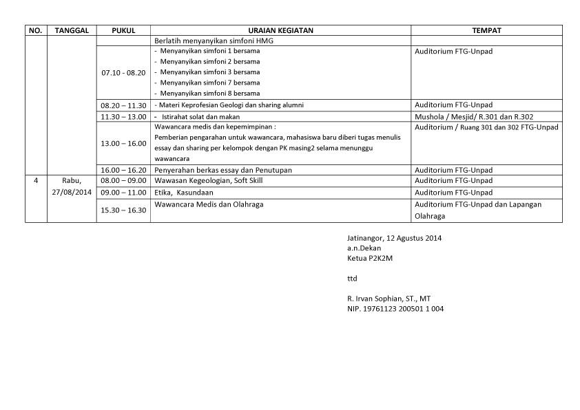 JADWAL PMB  FTG 2014-3