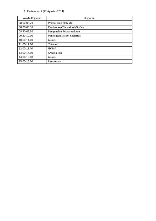 Jadwal Kegiatan PMB FK-3