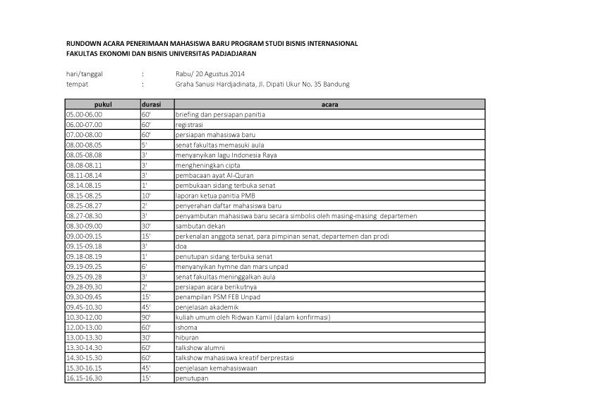 Kompilasi Rundown 20 - 23 Agustus 2014 (D3 Bisnis Internasional)1 copy