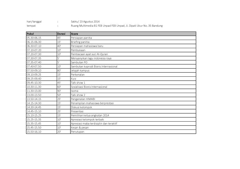 Kompilasi Rundown 20 - 23 Agustus 2014 (D3 Bisnis Internasional)3 copy