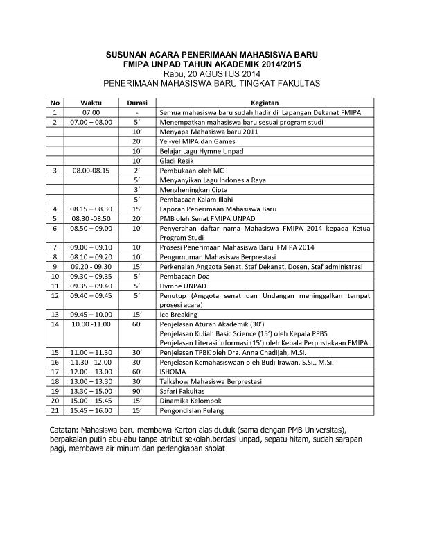 SUSUNAN ACARA PMB FMIPA 2014-1