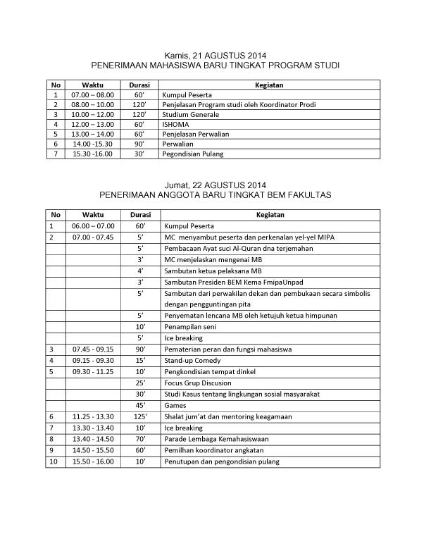 SUSUNAN ACARA PMB FMIPA 2014-2 copy