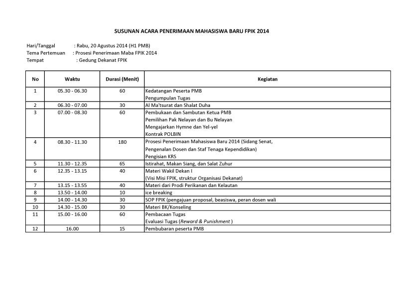 Susunan Acara PMB FPIK 2014-1