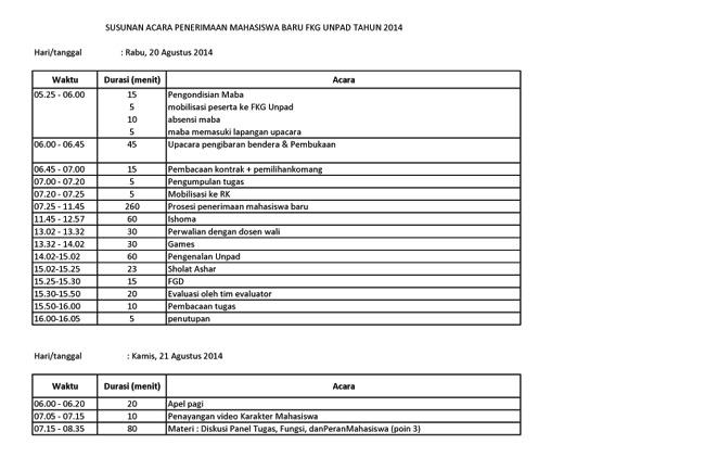 Susunan Acara Penerimaan Mahasiswa Baru FKG Unpad 20141 copy