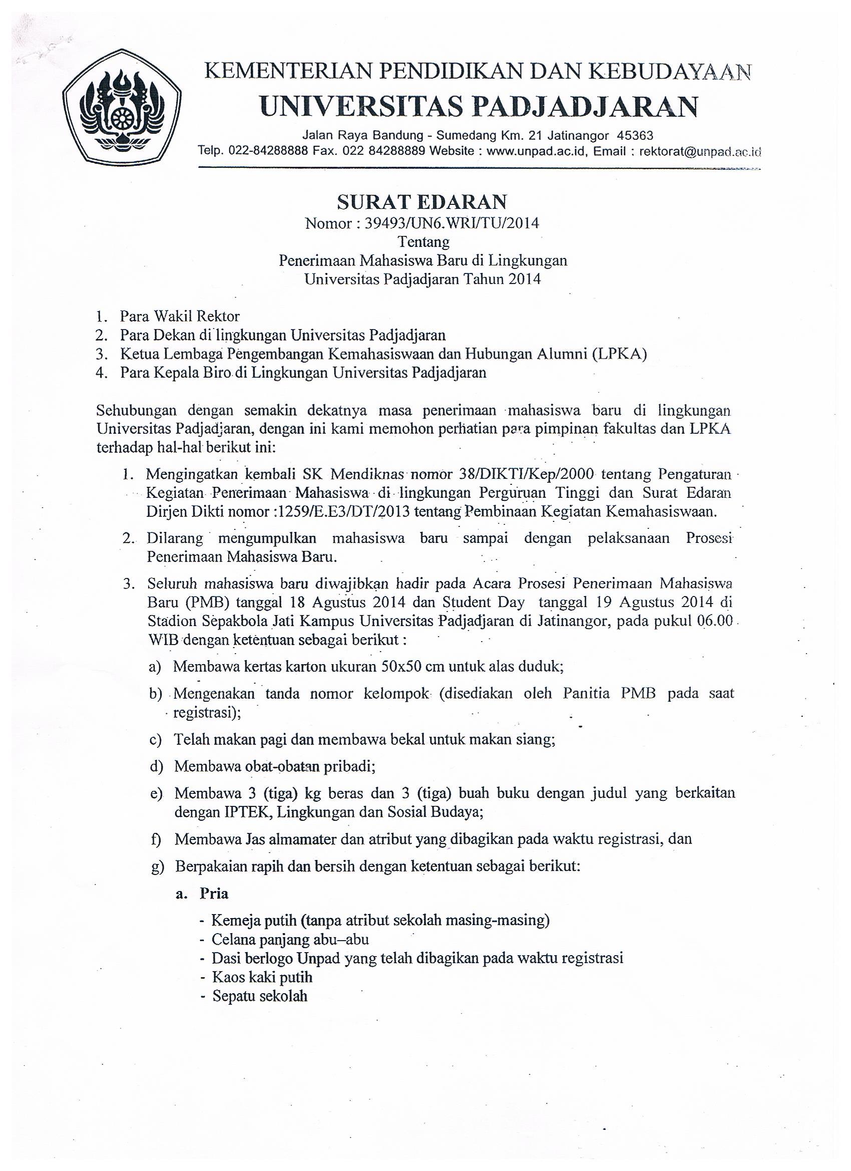 Prosesi Penerimaan Mahasiswa Baru 2014 Universitas Padjadjaran