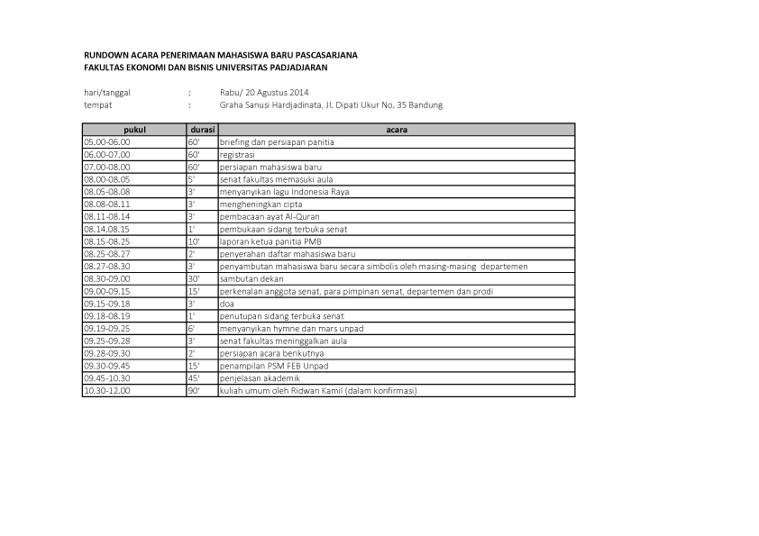 rundown tanggal 20 pasca FEB