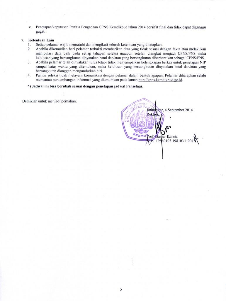 Negeri Sipil (CPNS) di Lingkungan Universitas Padjadjaran Tahun 2014