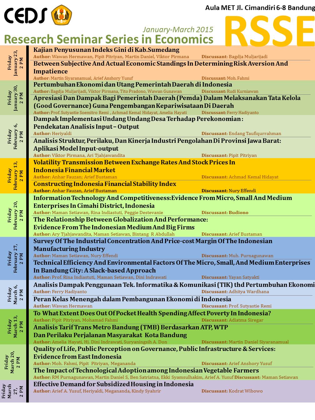Jadwal Research Seminar Series in Economics (RSSE) Fakultas Ekonomi