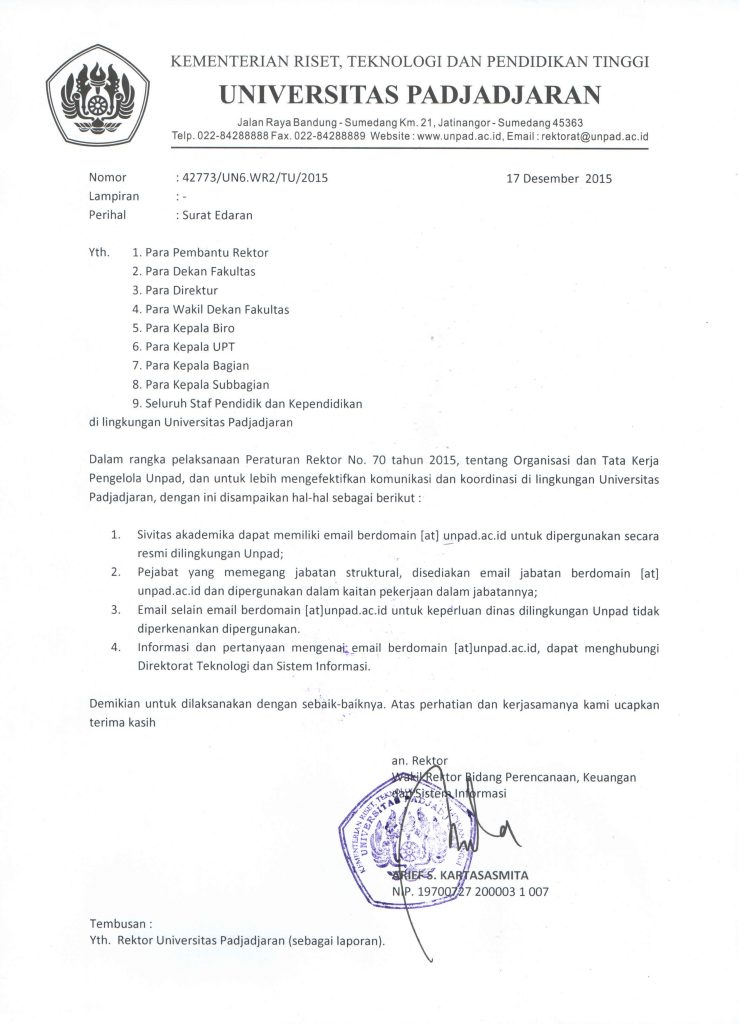 surat edaran penggunaan email unpadacid universitas