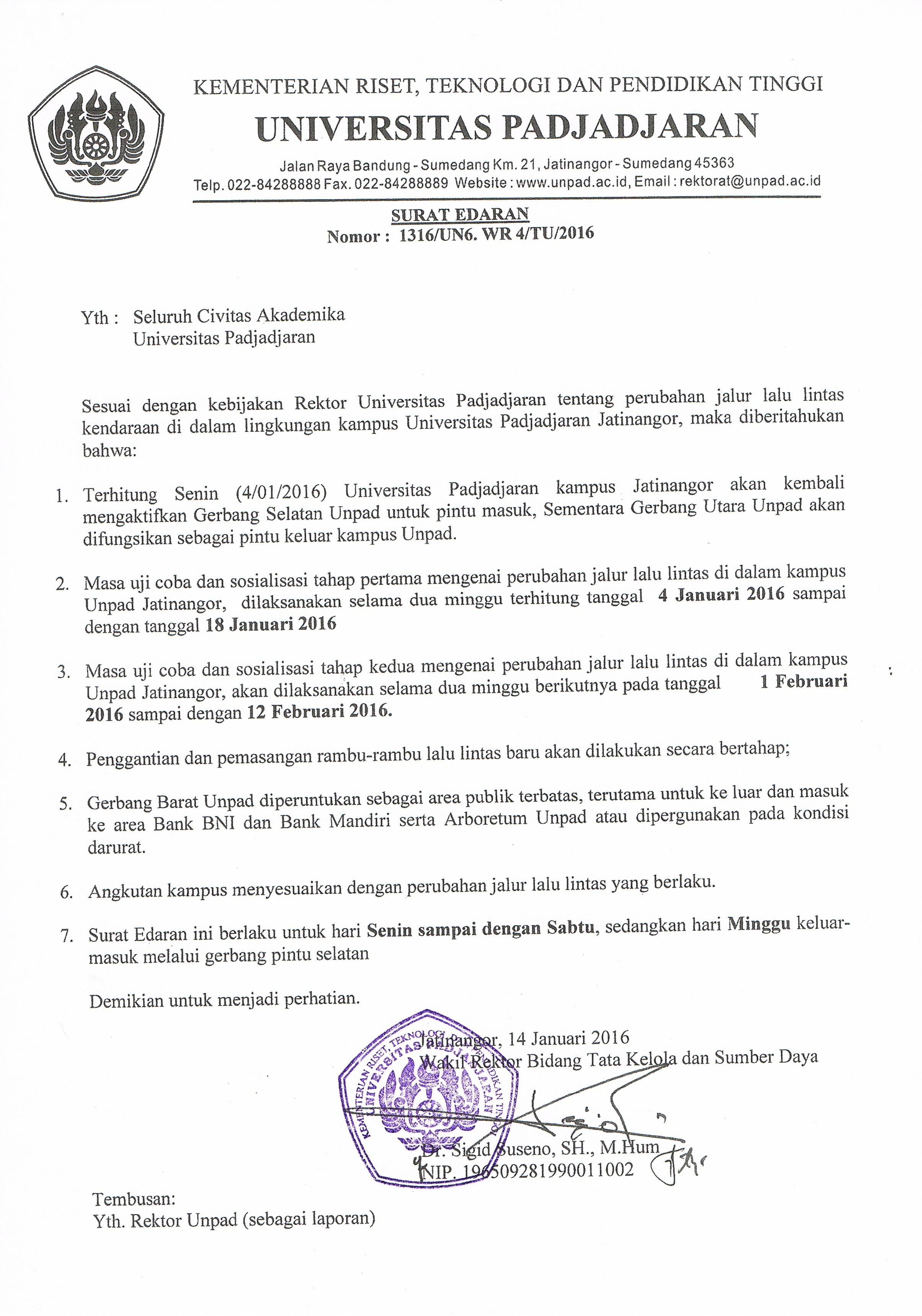Circular Letter Of Vehicle Traffic Changes At Jatinangor Campus