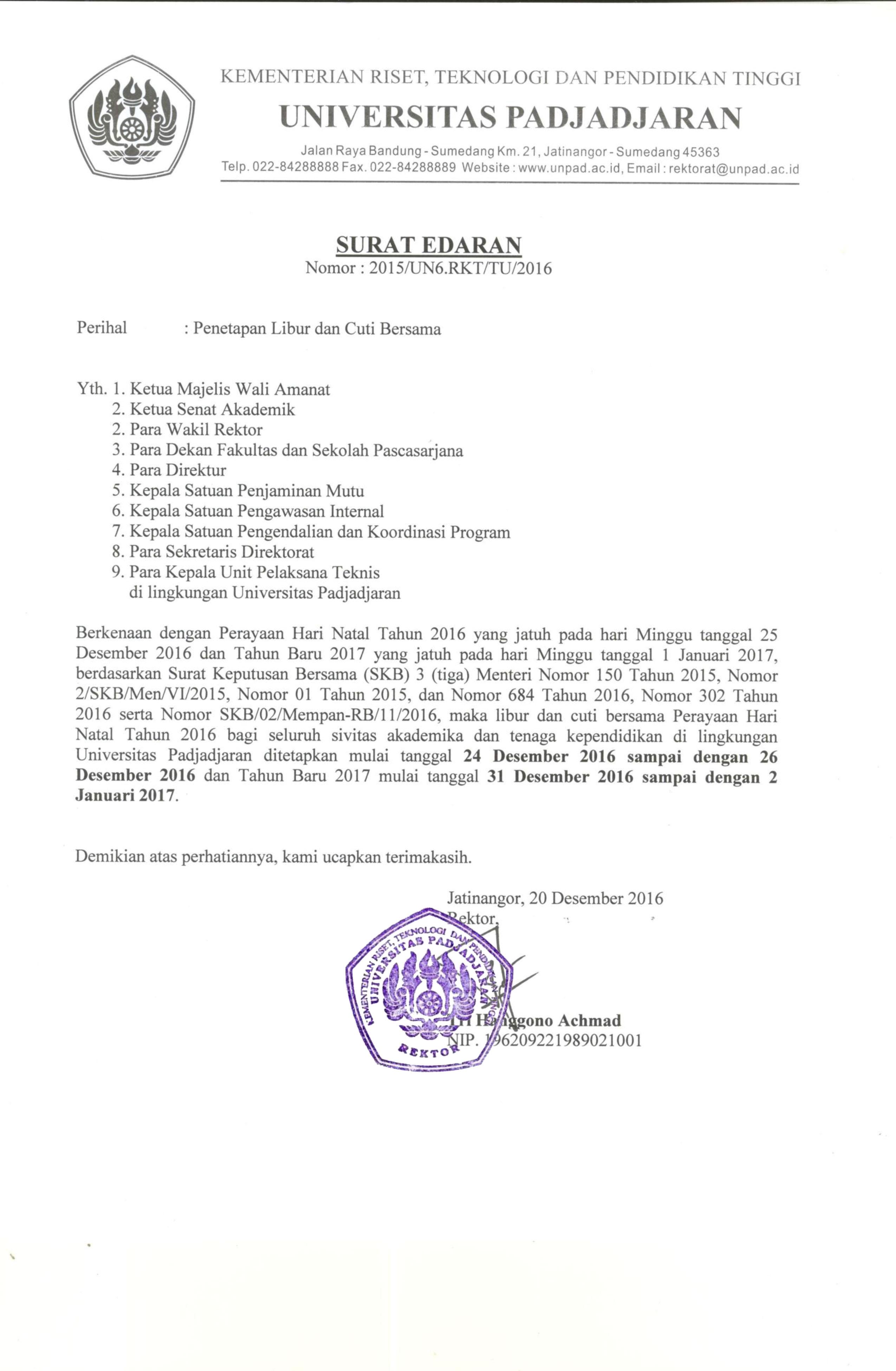 Surat Edaran Penetapan Libur Dan Cuti Bersama Universitas Padjadjaran