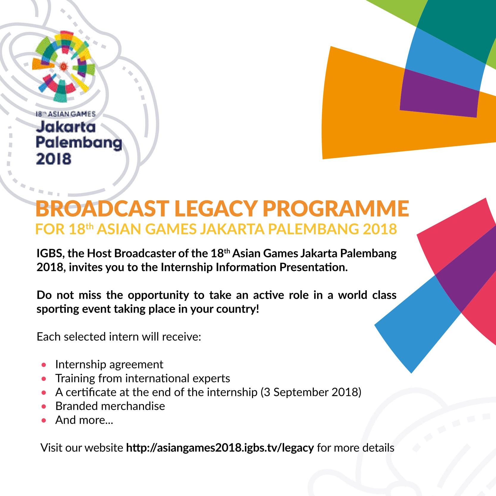 Internship E flyer asian games 1 - Asian Games 2018 Igbs