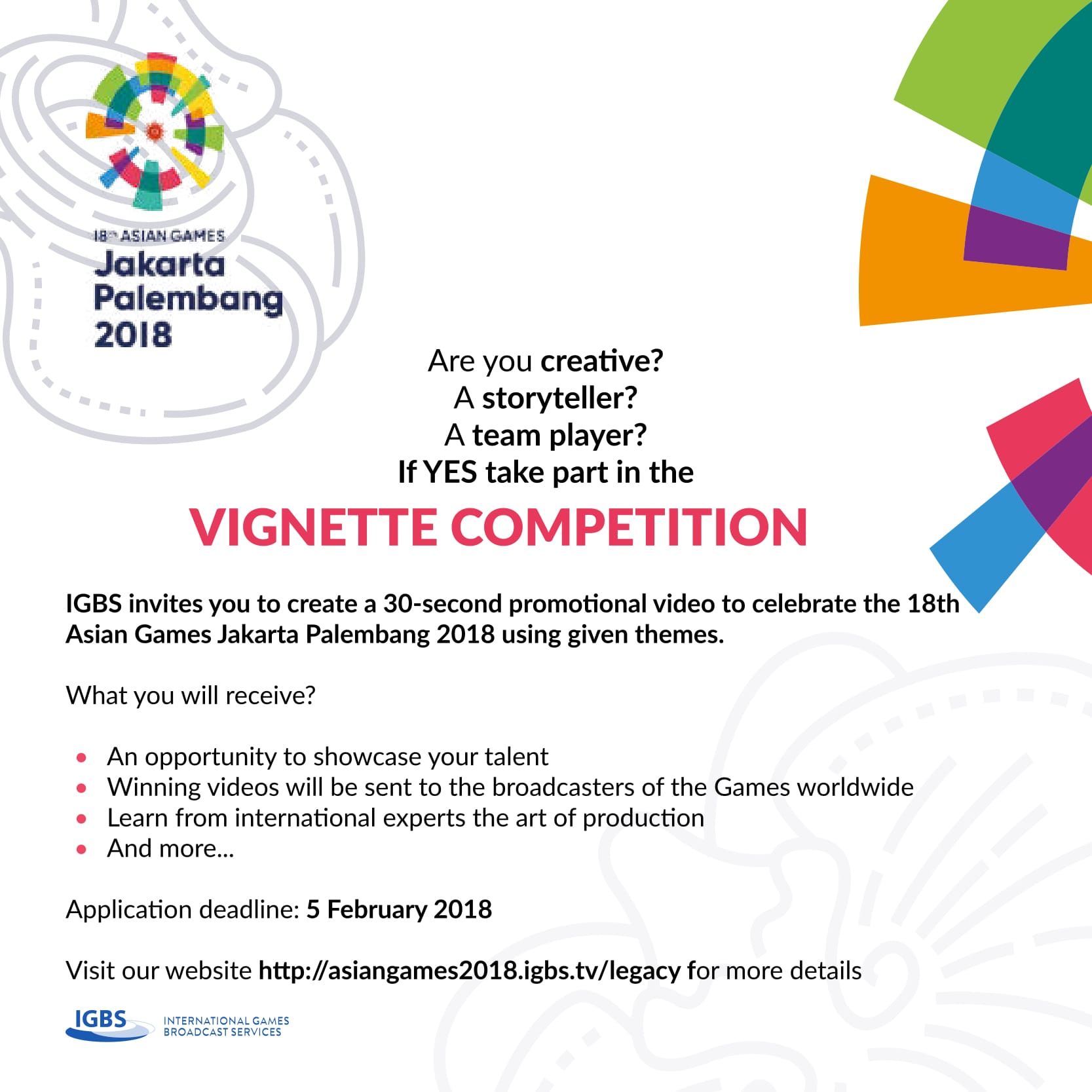 vignette competition 18 Asian Games 2018 - Asian Games 2018 Igbs