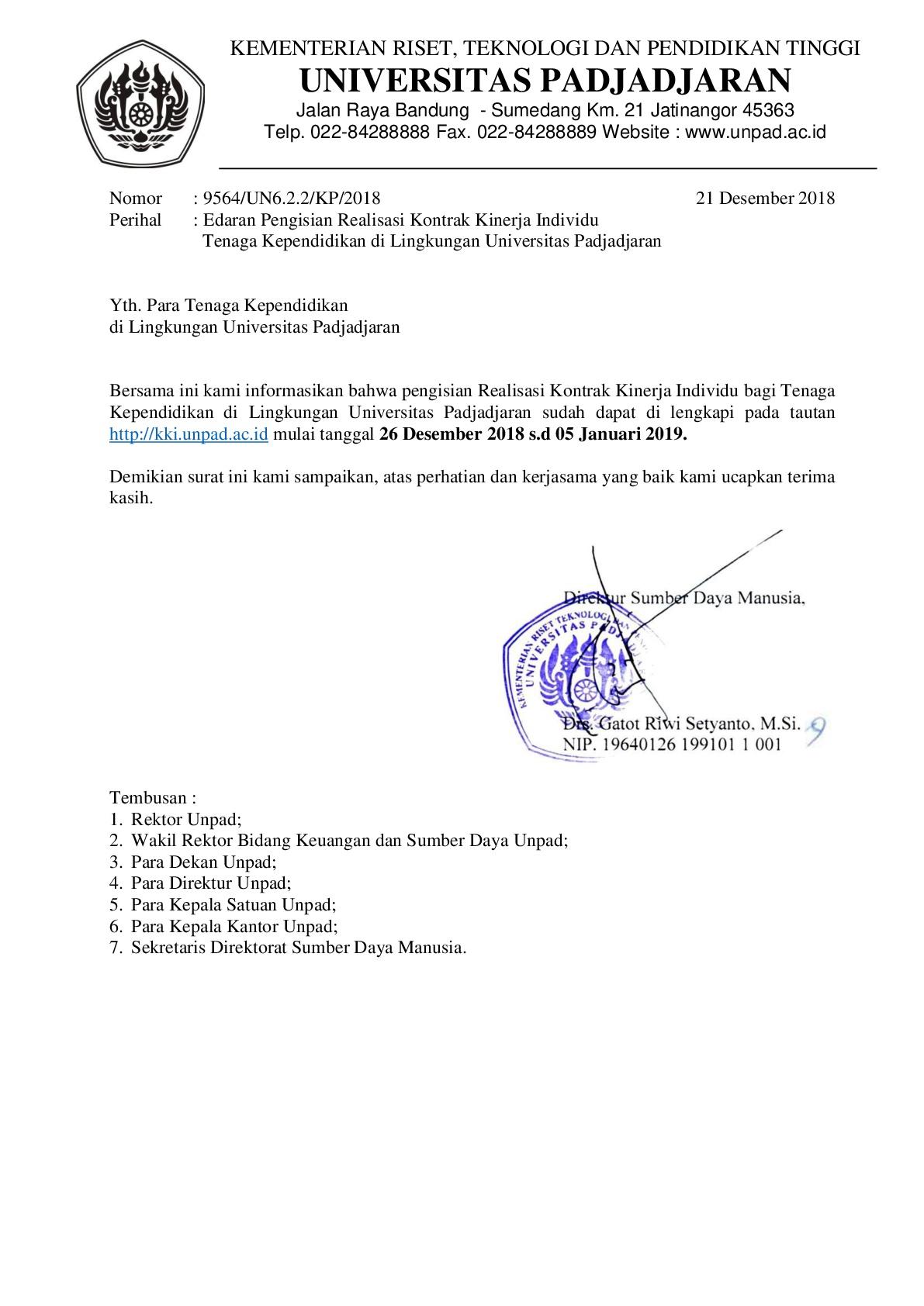 Edaran Pengisian Kontrak Kerja Individu Tenaga Kependidikan Di Lingkungan Unpad Universitas Padjadjaran