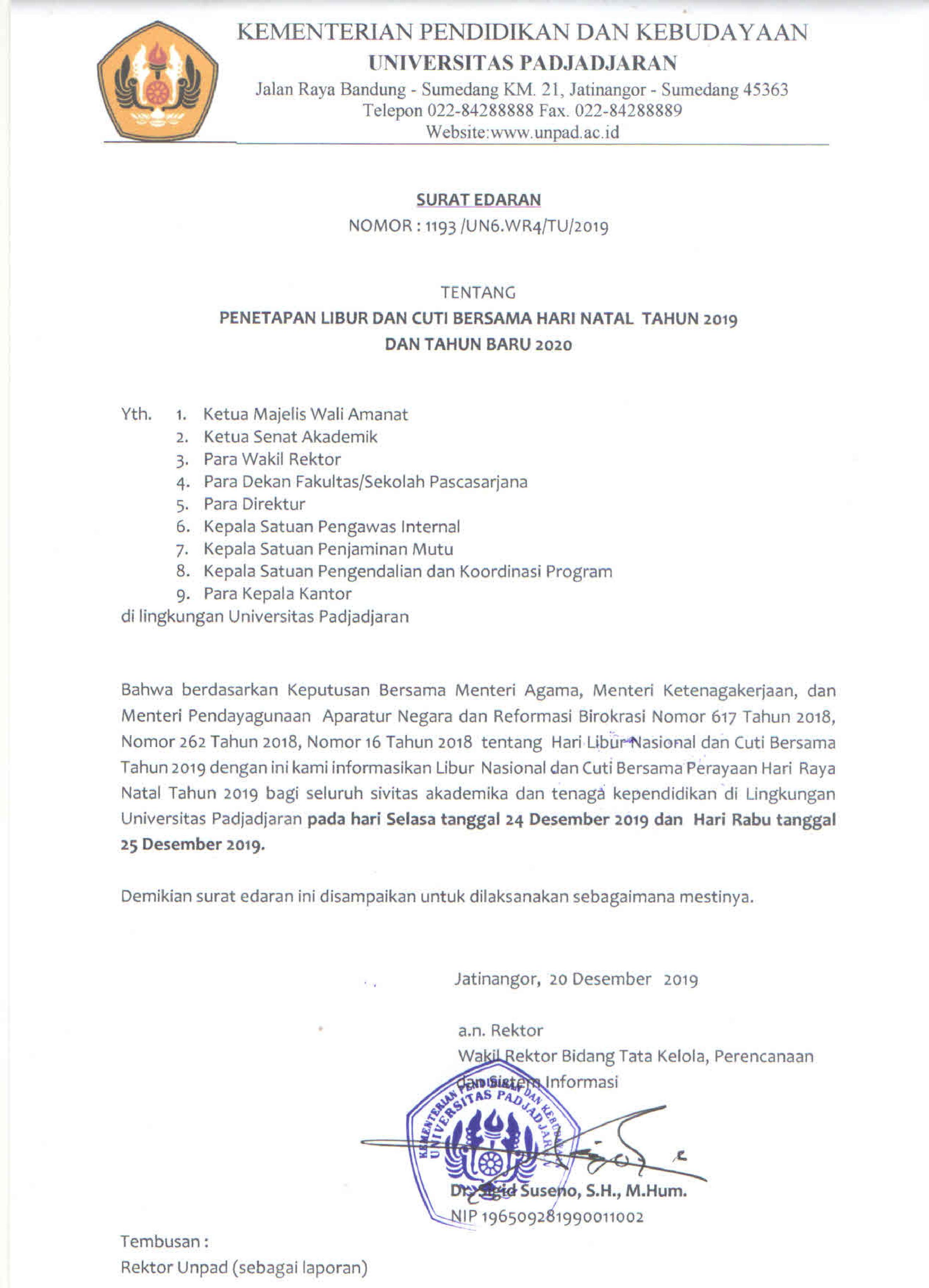 Edaran Penetapan Libur Dan Cuti Bersama Hari Natal Tahun 2019 Dan Tahun Baru 2020 Universitas Padjadjaran